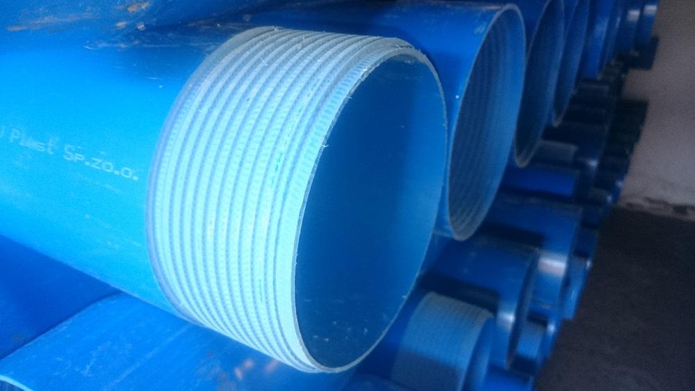 Blue plastic pipe
